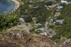 Small bay on Antigua. View on small bay with sandy beach and a lot of houses at English Harbour on Caribbean island of Antigua Stock Photos
