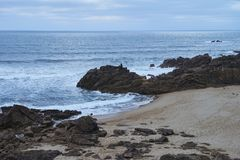 Beach bay of castro de São Paio. Small bay on the beach of Castro de São paio. Empty beach on a winter afternoon. Perfect location for enjoy nature on a royalty free stock photos