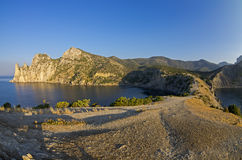 Small bay on the Black Sea coast in the morning. Royalty Free Stock Images
