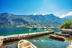 A small bay with boats Stock Image