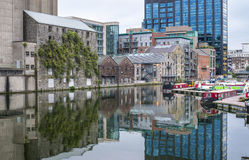 A small bay in the centre of dublin. Pier with boats Royalty Free Stock Photos