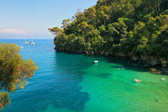 Small bay and cliff covered with trees in Portofino, Italy. royalty free stock image