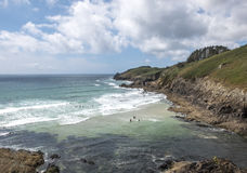 Small bay between the cliffs. Of the Normandy coast exploited by surfers Stock Photo