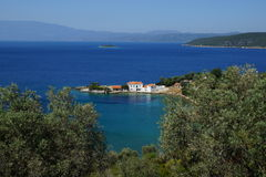 Small bay, Mount Pelion, Thessaly, Greece. Small, picturesque and cosy bay at the inner shore of the peninsula, formed by Mount Pelion, Greece, in the summer royalty free stock photos