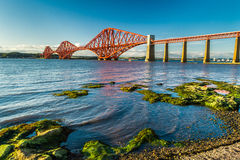 Small bay near Firth of Forth Bridge in Scotland Stock Photography