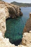 Small bay on Portinatx on the island Ibiza. A landscape view from a bay on Portinatx on Ibiza Stock Image