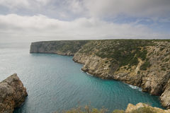 Small Bay in Portugal. A small bay in the Algarve with clear emerald water, on the way to Cape Saint Vincent, Sagres, Portugal Stock Photography