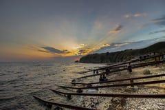Seascape. A sunrise over the Old quay. Resort Sinemorets, Southern Black Sea Coast, Bulgaria. royalty free stock photo