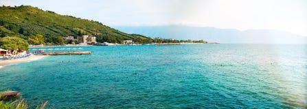 Small beach on beautiful summer Adriatic Sea Vlore coast, Albania. royalty free stock photography