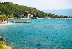 Small beach on beautiful summer Adriatic Sea Vlore coast, Albania. stock photography