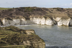 Small beach in distance at Flamborough Head in Yorkshire, England. Royalty Free Stock Photos