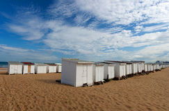Small beach house on sand beach in Calais, France Royalty Free Stock Images