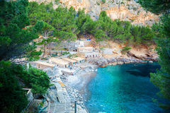 Small beach at the Sa Calobra bay Stock Image