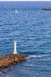 Small beacon at Mediterranean coast, Kyrenia, Northern Cyprus Stock Image