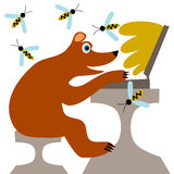 Small bear buys honey online Royalty Free Stock Image