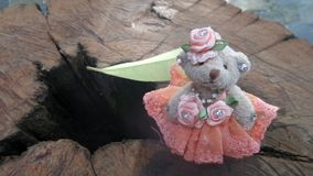 Small bear doll standing on wood ravine Royalty Free Stock Photos