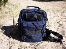 Small beautiful backpack. The backpack is suitable for the city and travel. stock image