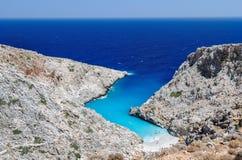 Small beautiful blue lagoon on Crete island Stock Photo