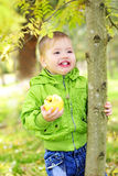 small beautiful boy walks on a green glade with an apple Royalty Free Stock Images