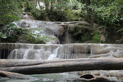 Small beautiful cascading waterfall in the jungle Royalty Free Stock Photo