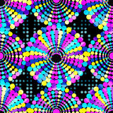 Small beautiful colored circles on a black background Seamless geometric pattern Royalty Free Stock Images