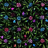 Small beautiful flowers with leaves on black background. Bright cornflowers in check pattern. Seamless pattern. Watercolor paintin. G. Hand drawn vintage Royalty Free Stock Images