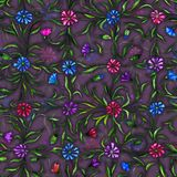 Small beautiful flowers with leaves on dark purple background. Bright cornflowers in check pattern. Seamless pattern. Watercolor painting. Hand drawn vintage Stock Photo
