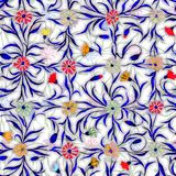Small beautiful flowers with leaves on light background. Bright cornflowers in check seamless pattern. Watercolor painting. Hand drawn illustration. Can be vector illustration
