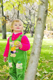 Small beautiful girl on green herb by autumn. Small beautiful girl in green suit on green glade with apple Stock Photos