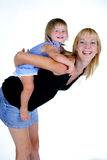 The small beautiful girl plays with mum Royalty Free Stock Images
