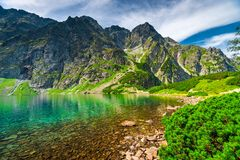 A small beautiful mountain lake Czarny Staw in the high Tatras o. N the territory of Poland royalty free stock photography