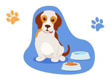 Small beautiful puppy sits near bowls of water and food. Caring for puppy, dog pet. Small beautiful puppy sits near the bowls of water and food, sticking his royalty free illustration