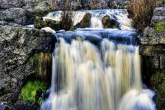 Waterfall in small river stock photos