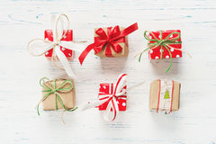 Small beautifully wrapped gifts, top view Stock Photography