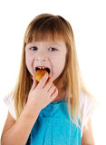 Small beauty eating girl Stock Photos