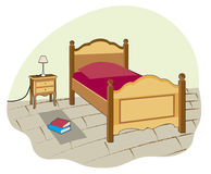 Small bedroom. Small room with single bed Stock Illustration
