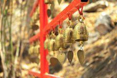 Small bell Hanging in a row stock images