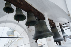 Small bells at Uspensky Cathedral in Rostov Kremlin. Russia. Royalty Free Stock Photos