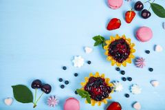 Small berry cake and ripe berries royalty free stock photography