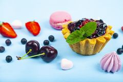 Small berry cake and ripe berries stock photography