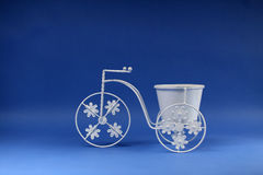 Small bicycle, pot for flowers Stock Photo