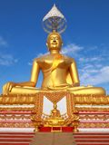 Small and big  golden Buddha. Small and big golden Buddha stay at same place with same character, Thailand Royalty Free Stock Photo