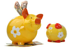 Small and Big Piggy Bank. Small empty piggy bank sadly looking at big happy piggy bank full of money Stock Image