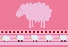 The small and big sheep on pink background. The big sheep in the middle and small sheep below vector illustration