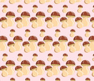 Small and big sizes Mushrooms pattern Royalty Free Stock Image