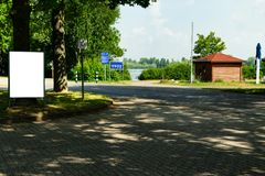 Small Billboard and blackboards at a lake side. In europe germany royalty free stock photos