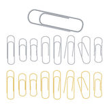 Small Binder Clips Vector Isolated On White. Realistic Paper Clip Set royalty free illustration