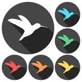 Small bird icons set with long shadow. Vector icon royalty free illustration