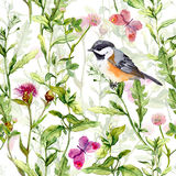 Small bird in spring meadow flowers, butterflies. Repeated pattern. Watercolor. Spring meadow: grass, herb and flowers with butterflies. Watercolor repeating stock photography