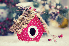 Small birdhouse Christmas decoration Stock Images